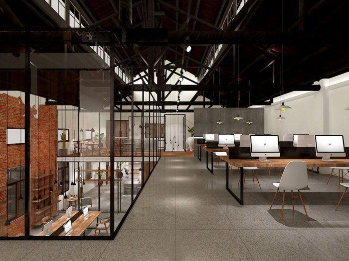 二楼办公区域装修设计效果图