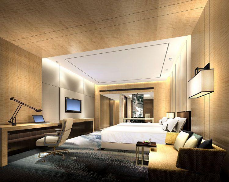 高档星级会议酒店装修标准双人间效果图