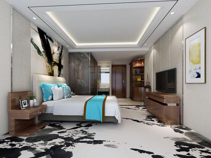 酒店客房大床房布局