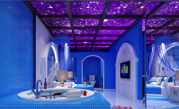 情侣浪漫主题酒店装修蓝色元素