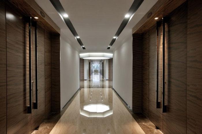现代商务会议酒店装修过道走廊