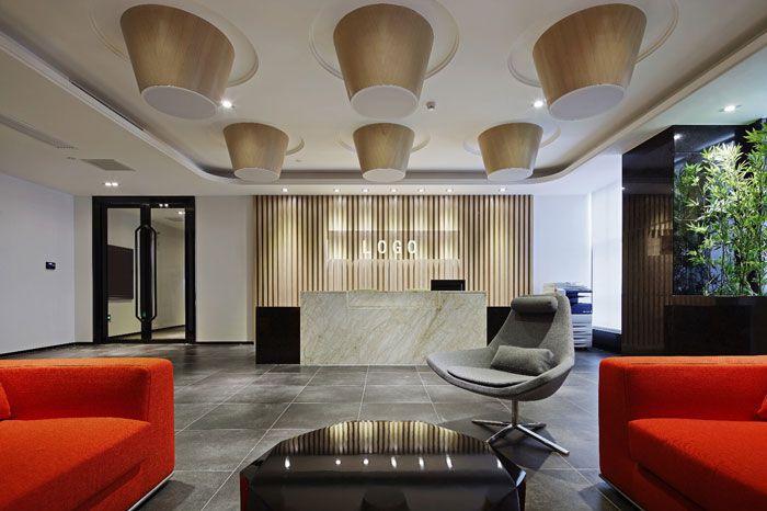 办公空间装修设计前台效果图