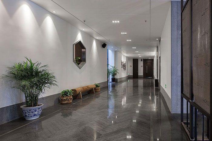 新中式酒店效果图过道走廊