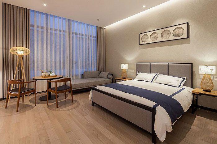 新中式酒店效果图大床房