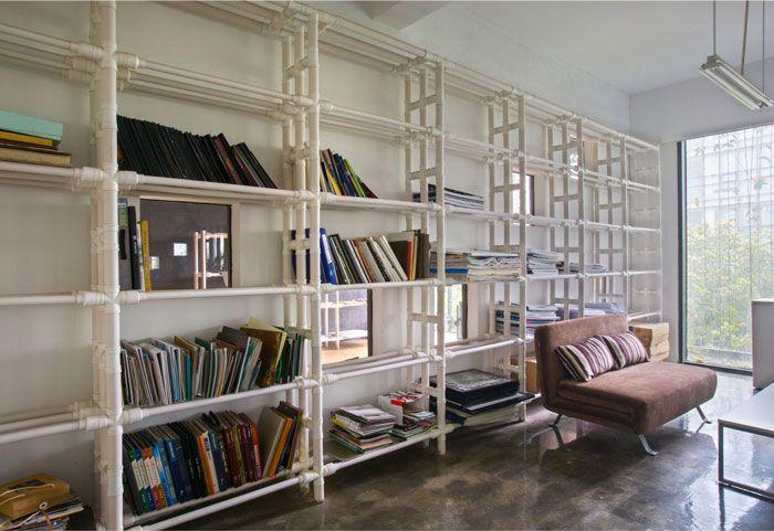 小型工作室装修效果图书架装饰