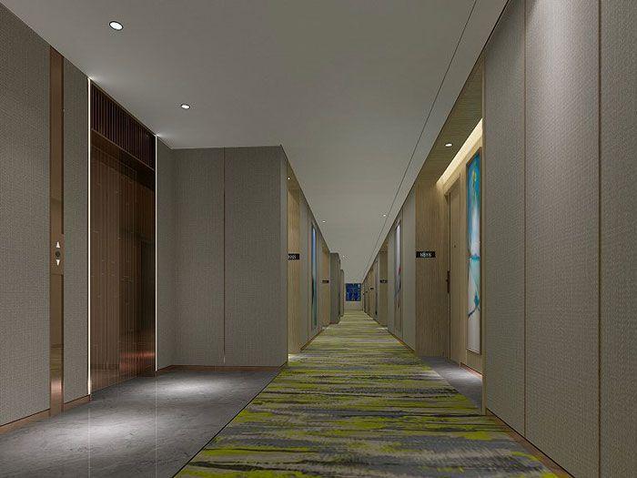 酒店装修风格效果图客房走廊
