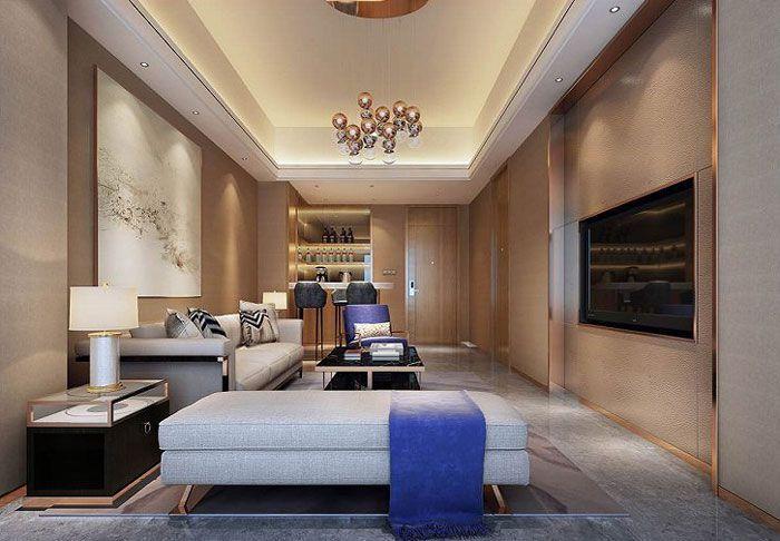 酒店装修风格效果图客房小客厅