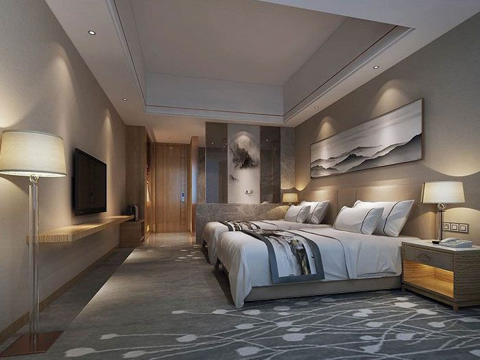 酒店装修风格效果图标准间