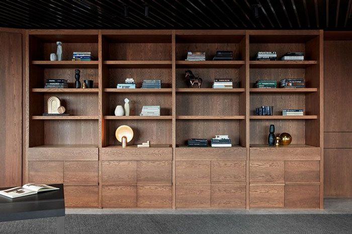 成都装修公司办公室装修书柜装饰
