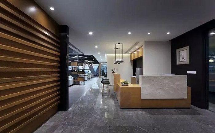 办公室室内装饰前台和水吧一体设计