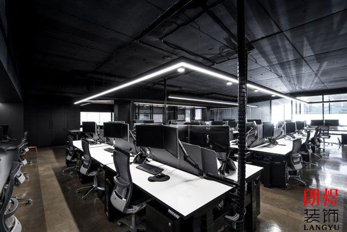 现代工业风办公室公共办公区效果图