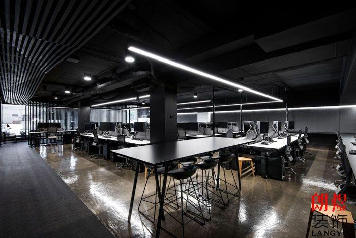 现代工业风办公室大厅空间效果图