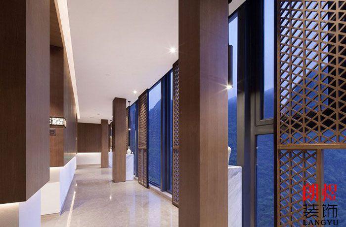 新中式酒店设计走廊效果图