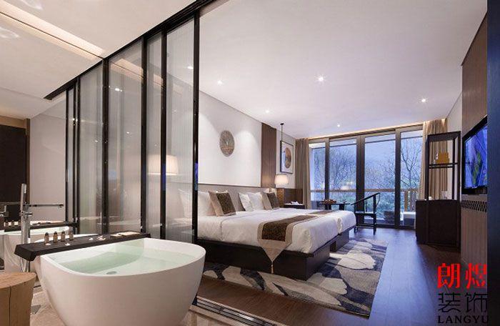 新中式酒店设计标准间效果图