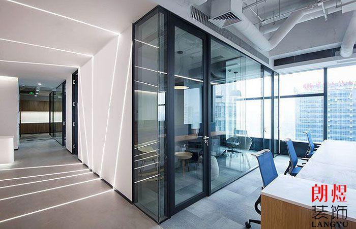 办公空间设计效果图公共区玻璃隔断
