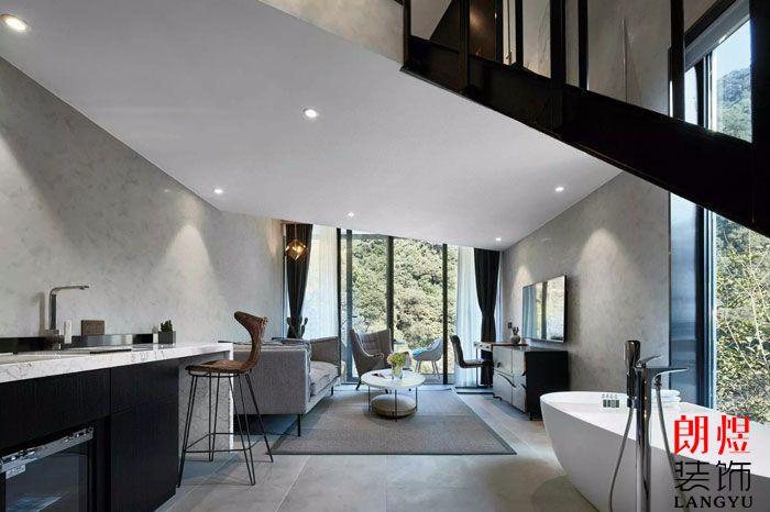 现代风格客栈装修效果图房间客厅