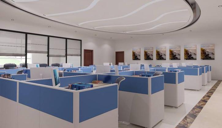 成都公装公司_成都办公室装修公司_开敞式员工办公室装修效果图