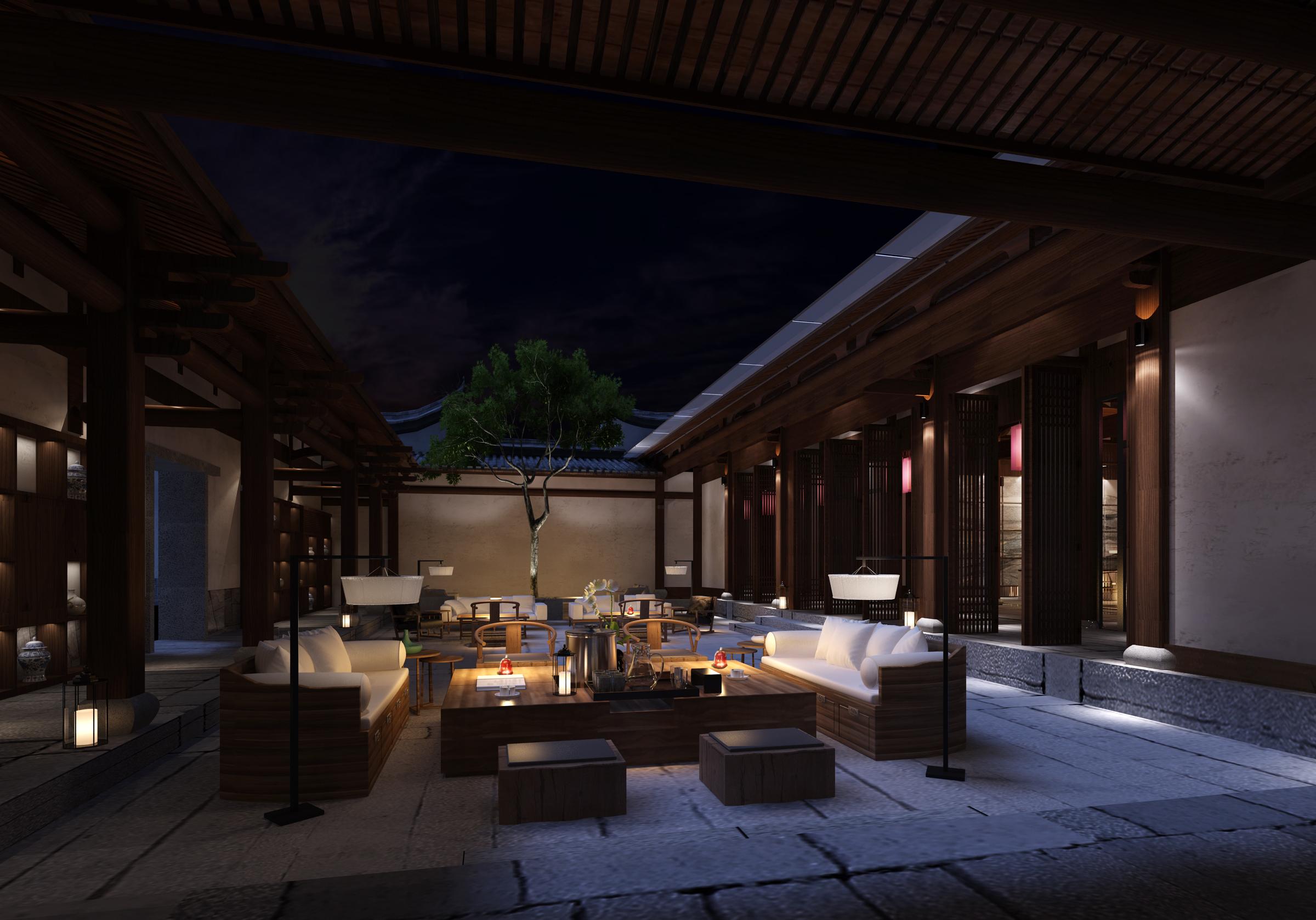工装公司是这样装修酒店餐厅的酒店装修效果图_中庭风格
