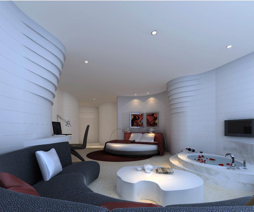 湖南灰汤华天城国际会议中心酒店装饰设计(网上资料)_客房内室