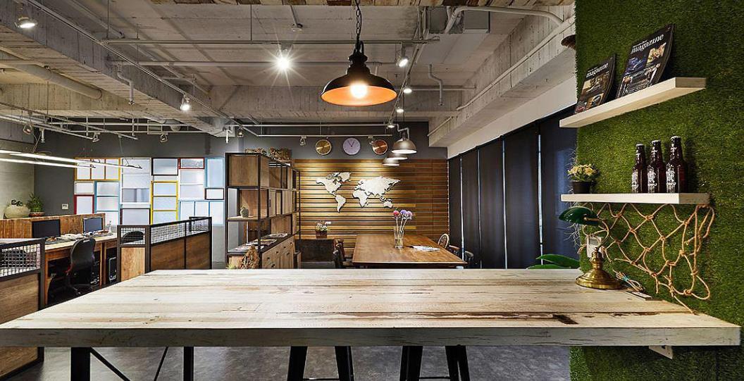 成都工业风格办公室灯光设计装修效果图