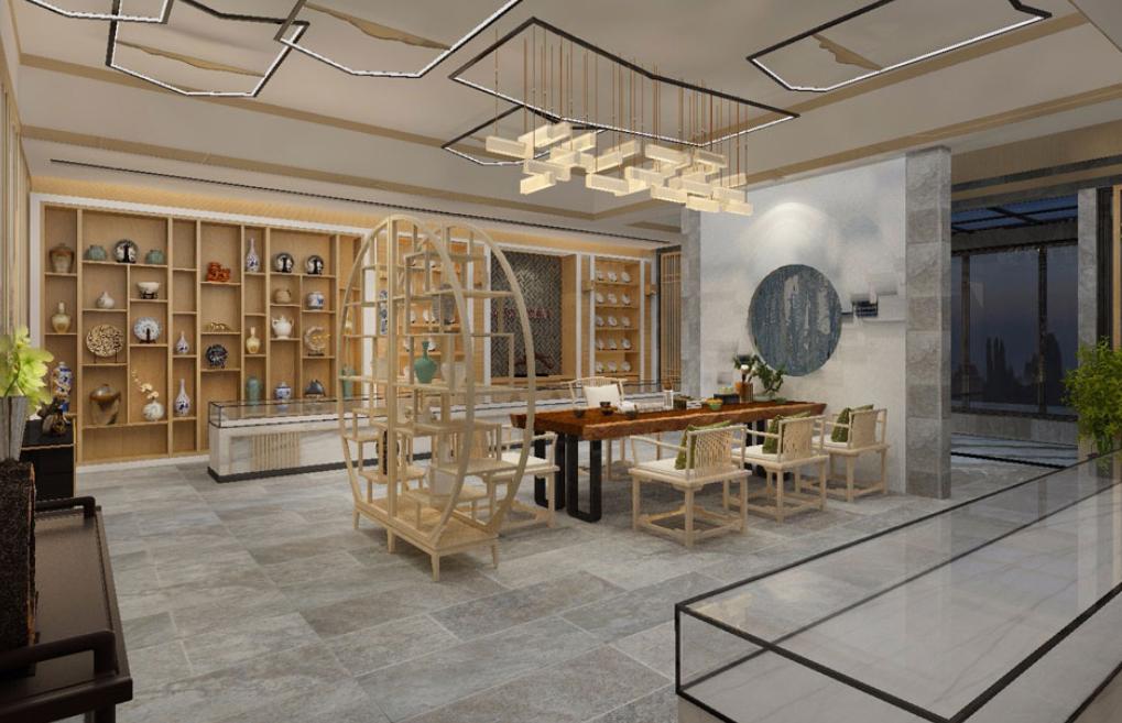 安静的中式禅意办公室装修设计效果图
