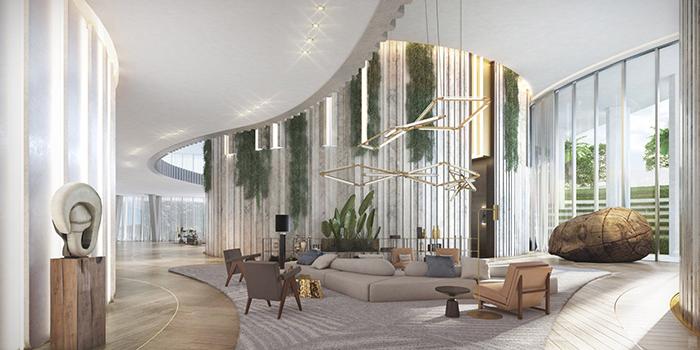 酒店大厅墙面休息区装修效果图