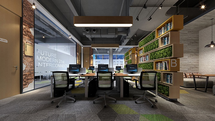 敞开式办公室装修效果图