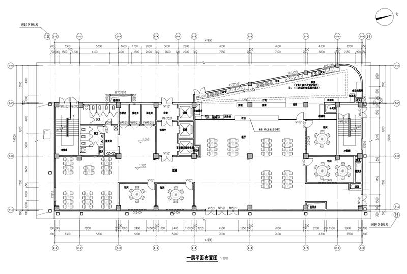 旅游度假酒店装修:1层平面布置图