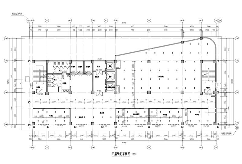 旅游度假酒店装修:四层天花平面布置图
